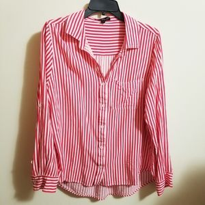 NWOT Red White Striped Button Down Shirt